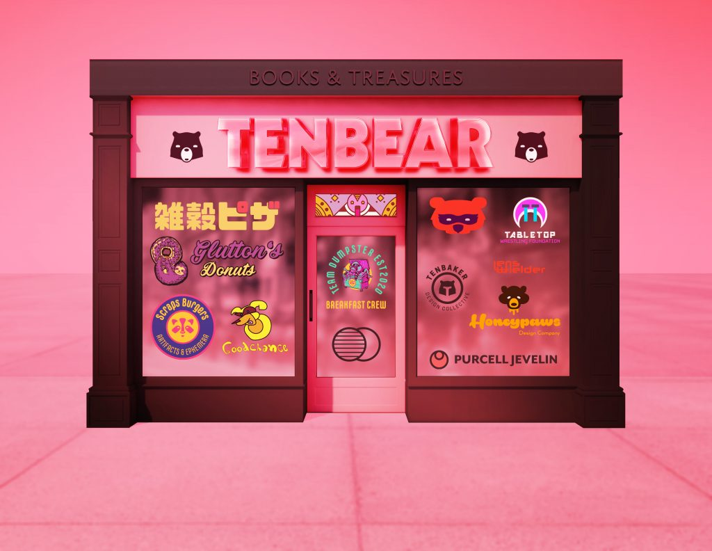 a graphic depiction of the dream store Tenbear Books & Treasures, the building is pink with black trim, and there are sign letters on the top that read BOOKS & TREASURES, below that is TENBEAR in large, shiny pink raised letters, the tenbear logo sits to either side, below the windows of the storefront of covered with decals of various logos, including Mongrel Pizza, Glutton's Donuts with a sloth hanging off a donut, Scraps Burgers Artifacts & Ephemera, Goodchance Underdog with a dog wearing a superhero mask, TEAM DUMPSTER Breakfast Crew and a raccoon in a dumpster, an orange bear wearing a masquerade mask, a wrestling mask that's crying, a bear shaped helmet, orange letters saying Lenswielder, a bear with honey dripping from its snout and Honeypaws below, then a logo for PURCELL JEVELIN, the entire scene is awash in extreme pink light